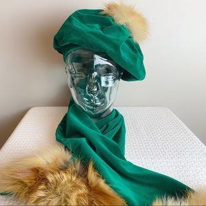 Vintage ooak hat and scarf set with real fur